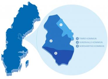 Karta som visar var MittSverige Vatten och Avfall finns, alltså i Sundsvall, Timrå och Nordanstigs kommuner.