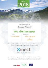 Diplom grön el Sundsvall Vatten 2018