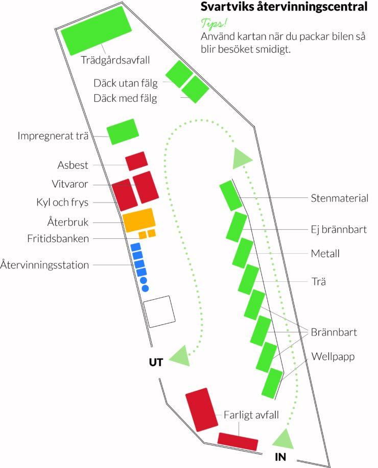 Översiktskarta som visar området på Svartviks återvinningscentral