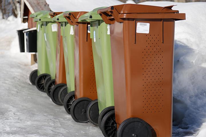 Rad med gröna och bruna soptunnor intill en väg på vintern.