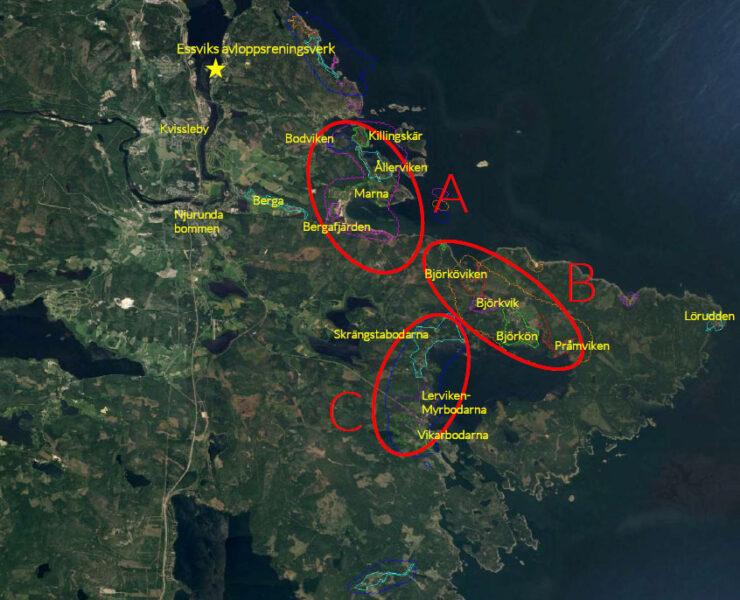 Kartbild över områden A (Bodviken, Killingskär, Ållerviken, Marna, Bergafjärden), B (Björköviken, Björkvik, Björkön och Pråmviken) och C (Skrängstabodarna, Lerviken, Myrbodarna, Vikarbodarna) för utbyggnad av vatten och avlopp längs njurundakusten.