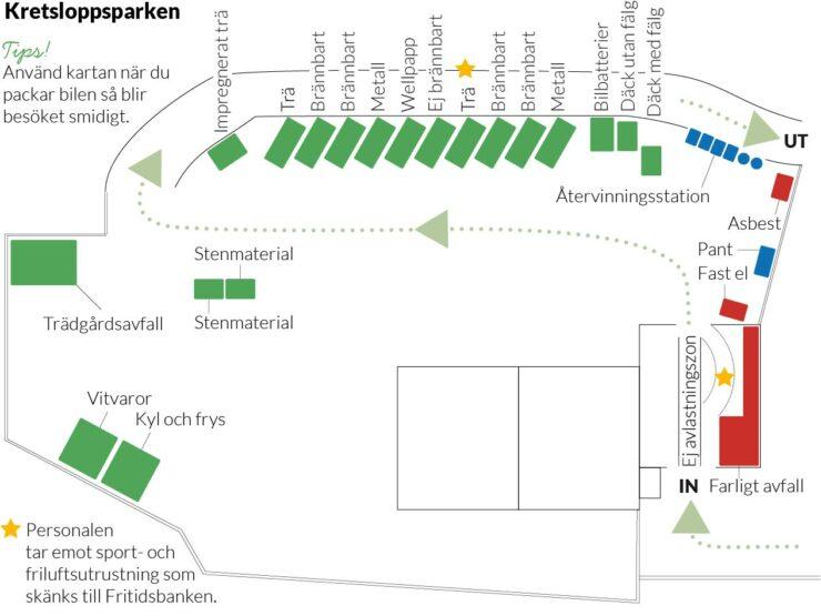 Översiktskarta som visar området för Kretsloppsparken